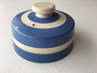 Original Cornish Kitchenware By T G Green, Blue & White Butter Dish Cover (only) • 5£
