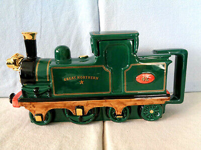 ** Steaming Good Very Rare Large Teapottery Green Steam Engine Teapot ** Mint ** • 59.99£