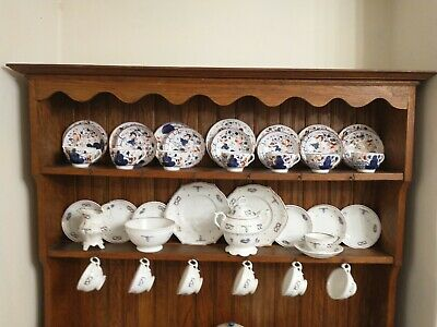 Antique Gaudy Welsh Tea Set Items, Oyster Pattern 7 Triplets And Serving Plate • 50£