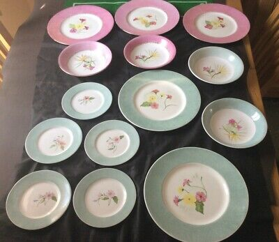 14 Pieces Shelley/Minton China Hand Painted Plates And Soup/ Cereal Bowls • 12£