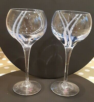 2 Caithness Crystal Sherry Glasses With Blue/Pink Swirl Design • 9.50£