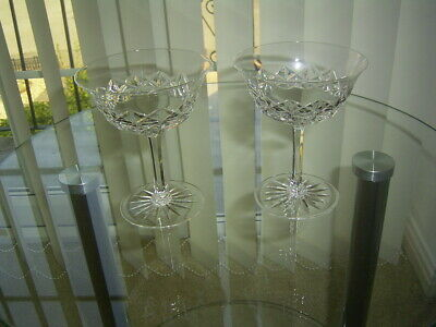 2 Vintage Lead Crystal Cut Champagne Coupes / Saucers / Bowls  Glasses • 14.99£