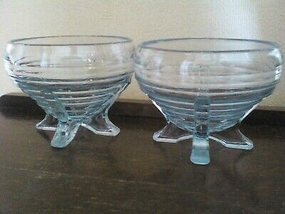 Rose Bowls On 4 Feet X 2, Art Deco Blue Pressed Glass, Sowerby, 1930s Vintage • 15£