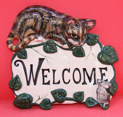 Babbacombe Pottery Cat Welcome Plaque • 6.99£