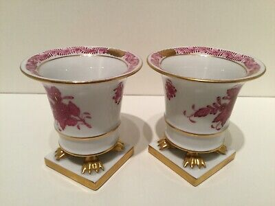 Exquisite Pair Herend Porcelain Raspberry Chinese Bouquet Vases Dated 1996 • 125£
