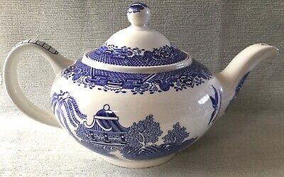 Lovely Vintage Blue And White Willow Pattern Woodsware Teapot • 15£