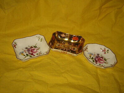 Royal Crown Derby 3 X Trinket/Pin Dishes Imari 1128 And Derby Posies • 15£