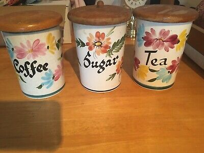 Toni Raymond Hand Painted Pottery Collection - Coffee, Tea, Sugar Canisters • 2.99£