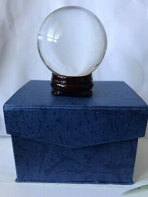Small Glass Crystal Ball (16cm) + Wooden Stand, Boxed. Sphere Meditate Healing • 3£
