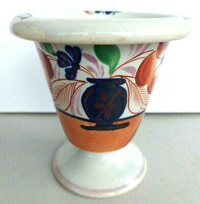 GAUDY WELSH Basket Of Flowers Pattern Rare Shape Vase With Roll Over Top. • 30£