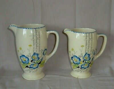 Pair Of Vintage Royal Staffordshire Pottery Honeyglaze Jugs - Anemone & Trellis • 10£