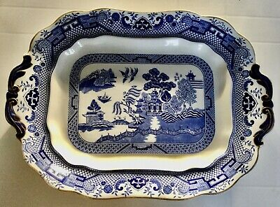 Rare Antique Sampson Hancock Very Large Willow Pattern Meat Platter Circa 1912 • 20£