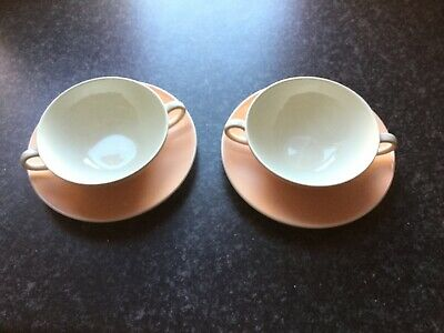 Poole Pottery Soup Bowls And Saucers (2) • 5£