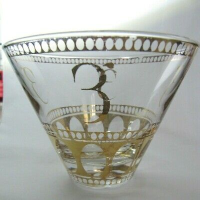 Unusual Vintage Glass Bowl With Gilt Decoration - 3 Or Reverse E • 10.50£
