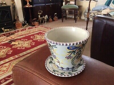 Portuguese Hand Painted Plant Pot And Dish Small • 10£