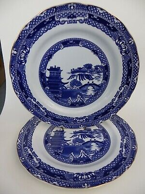Vintage Wade Ringtons Blue & White Willow Pattern 10  Plate Set Of 2. • 12.50£