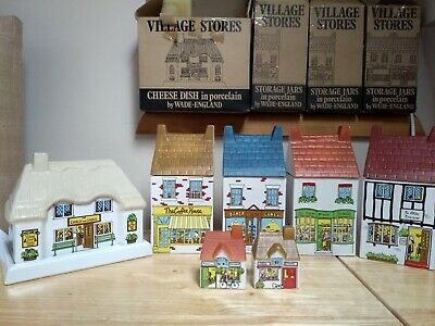 1980's WADE POTTERY VILLAGE STORES  STORAGE JARS CHEESE DISH SALT & PEPPER  • 95£