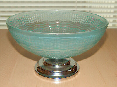 Art Deco Green Fruit Bowl On A Chrome Stand • 12£