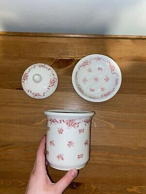 Laura Ashley Ribbons Jar And Soap Dish EXC. Condition • 9£