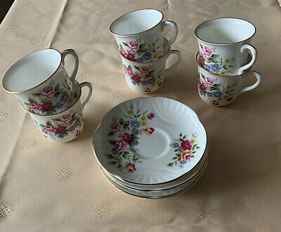 Crown Staffordshire Coffee Cups And Saucers • 7.50£