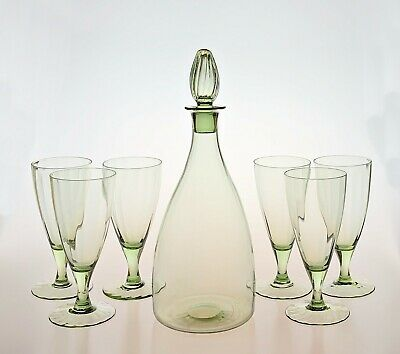 RARE Whitefriars (Powell) Decanter Set - Large Wine Decanter & 6 Glasses SUPERB • 95£