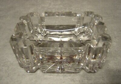 Rectangular Pressed Clear Glass Open Salt Dish • 1.50£