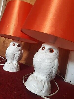 Poole Pottery White Owl Lamps PAIR  • 20£