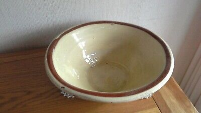 Antique  Welsh Dough Bowl Earthenware Large Red Cream • 45£