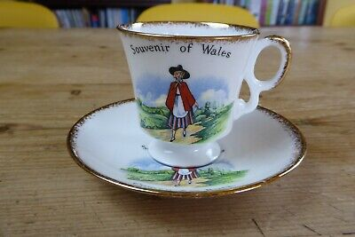 Vintage Robert Lewis Fine Bone China Welsh Maid Souvenir Cup And Saucer • 3£
