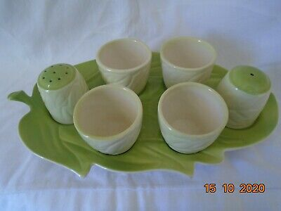 CarltonWare Cruet Set With Four Egg Cups, Porcelain, On Tray • 4.99£