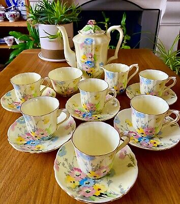 Antique Crown Staffordshire -714666 Bone China Floral Yellow Coffee Set-15 Pic • 75.50£