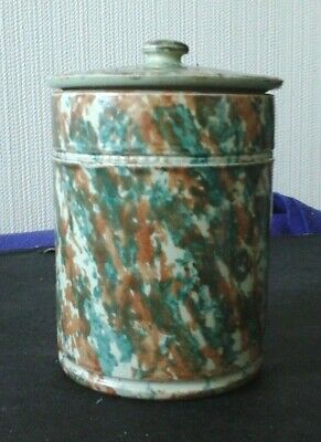 C-1900 Buchan Portobello Scotland Stoneware Mottled Tea Caddy/tobacco Jar ꟻMF • 64£