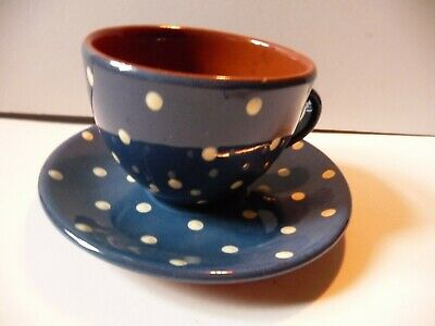Devon Ware Torquay Blue With White Polka Dot Large Cup And Saucer • 9.99£