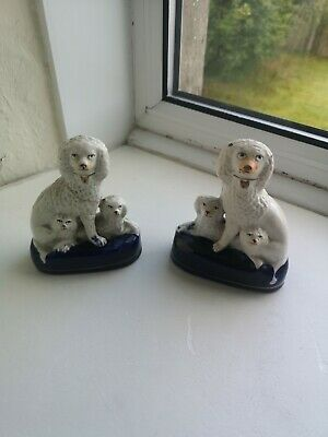 Antique Pair Of Staffordshire Pottery Dogs • 1£