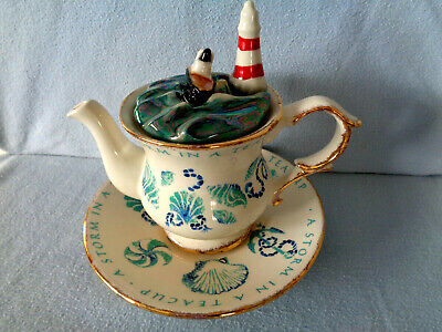 **   Storm In A Teacup  Superb 2 Cup Very Rare Teapottery Teapot ** Mint ** • 39.99£