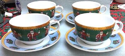 Four Rare Royal Doulton Coffee Cups & Saucers In The Christmas Coffee Pattern • 15£