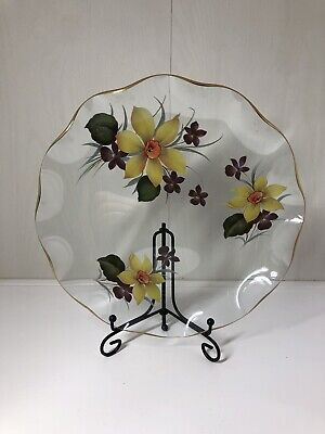 Vintage Glass Dish Plate Decorated With Narcissi Very Pretty • 10£