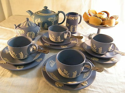 Magnificent  Wedgwood Blue Jasper Ware  22 Piece Afternoon  Tea Set   Beautiful. • 369.99£