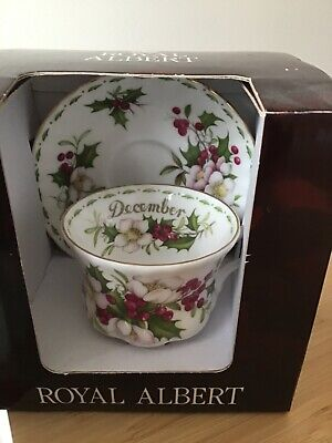 Royal Albert.DECEMBER Flower Of The Month .BOXED Unused .Bone China . • 22.50£