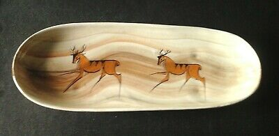 LAURIANA (Babbacombe) Deer/elk Prehistoric Cave Painting Long Bowl/tray 29 Cm • 18£