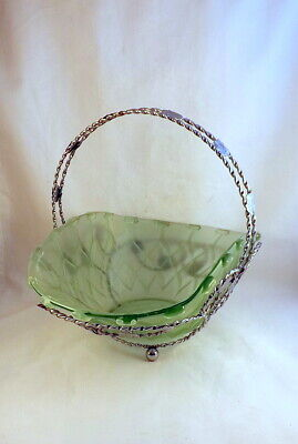 Large Bagley Green Glass And Chrome Bowl & Stand  • 15£