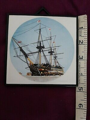 Tile With Picture Of A Ship In Frame To Hang • 0.99£