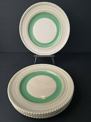 Gray's Pottery Mint Green Banded  Art Deco 10  Dinner Plates X's 6 VGC  • 24.99£
