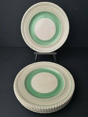 Lovely Gray's Pottery Mint Green Banded 9  Art Deco Salad Plates X's 6 VGC • 19.99£
