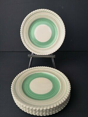 Beautiful Gray's Pottery Mint Green Banded 7  Art Deco Side Plates X's 6 VGC • 16.99£