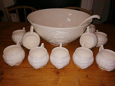 Hartley Greens And Co Leeds Pottery Creamware Santa Claus 14  Punch Bowl/10 Cups • 384.95£
