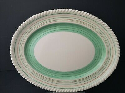 Lovely Gray's Pottery Mint Green Banded Oval Serving Plate VGC • 11.99£