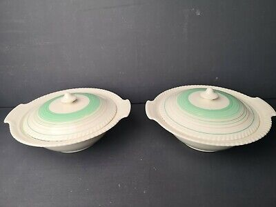 A Pair  Of Lovely Gray's Pottery Mint Green Banded Art Deco Tureens • 24.99£