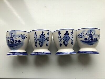 Delft Blue, Egg Cups, Hand Painted, Four. • 15£