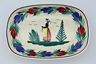 H B Henriot Quimper Vintage Shallow Dish Bowl Woman Pattern Small Pottery • 9.95£